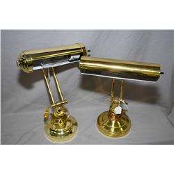 Two semi-contemporary brass students/piano lamps