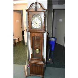 Semi-contemporary floor standing long cased clock with weight driven West German movement