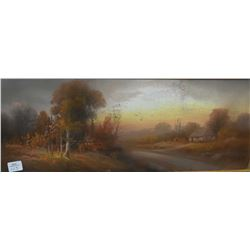 "Vintage gilt framed original pastel painting signed by artist Chandler, 8"" X 20"""