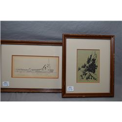"Two framed Collier prints including one marked on verso ""Old Alaska Highway"" and ""Flowers Cove, Newf"