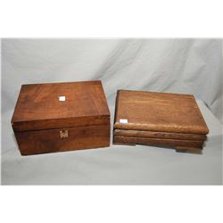 Antique mahogany writing slope and a wooden letter box