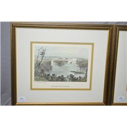 "Two vintage coloured Bartlette etchings including ""The Ottowa River by Bytown"" and ""Kingston Lake On"
