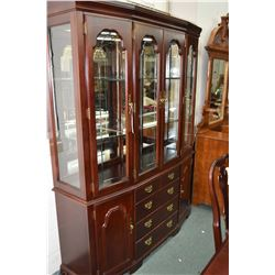 Semi-contemporary chest on chest Sklar Peppler illuminated china cabinet to match lot 234