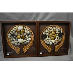 "Two vintage trading shell collages in framed shadowboxes, overall dimensions 17"" X 16"""