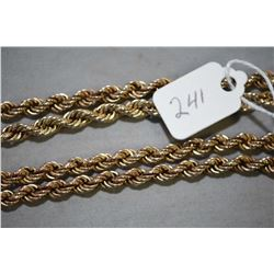 "Vintage tested 10kt yellow gold twisted 25"" gold chain"