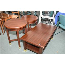 Set of two mahogany living rooms tables including coffee table with undershelf and round side table