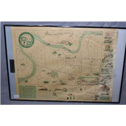 Framed Historical Map of South Edmonton as it was in 1899 and framed Historical Map of Edmonton Nort