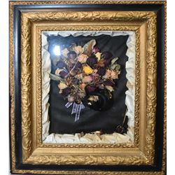 "Shadow boxed framed dried roses bouquet, overall size including framed 30"" X 26"""