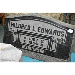 "Engraved granite headstone, 13"" in height and 20"" in length, perfect for authentic halloween decor"