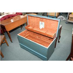 Waterfall style cedar lined blanket box with pull out shelf, inner tray made by Honderick Furniture