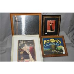 Four framed advertising prints including two Coca-Cola, one Hooton's chocolate, Fritchi Ball 1903 an