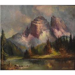 "Framed oil on canvas painting of a mountain scene signed by artist, 28"" X 32"""