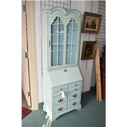 French shabby chic drop front secretaire with fitted interior and glazed bookcase on top made by Jas