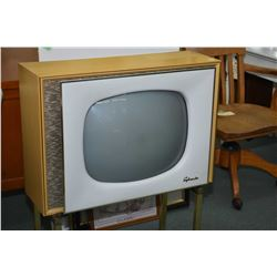 Vintage Sylvania console television set Model # C21C529 in blonde oak cabinet with undershelf, not t