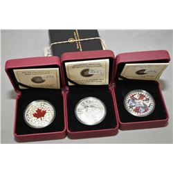 "Three Royal Canadian mint fine silver boxed coins including 2013, $20 ""Maple Leaf Impression"", ""2012"