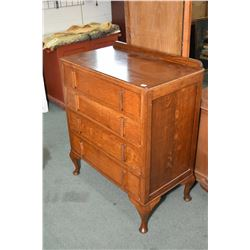 Four drawer English oak low boy and matching drop vanity with bevelled mirror