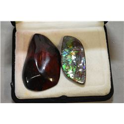 Large 9.4 gram red amber specimen and a 11.0gram specimen of blue, green SChaipas ammolite
