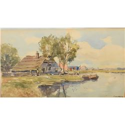 Vintage gilt framed watercolour painting of cottages along a shoreline, signed by artist I.V.O. Venn