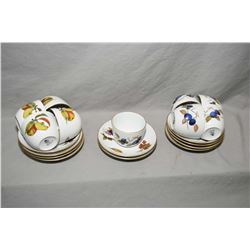 "Nine Royal Worcester ""Evesham"" teacups and saucers, plus one extra saucer"