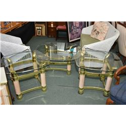 Pair of modern glass top sidetable with matching coffee table