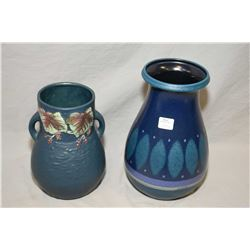 "Two handpainted vases including a 8"" Roseville and a German (?) vase"