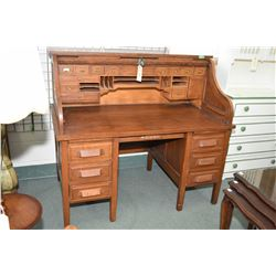 "Vintage oak S-curve double pedestal roll top desk with fully fitted interior, 54"" wide"