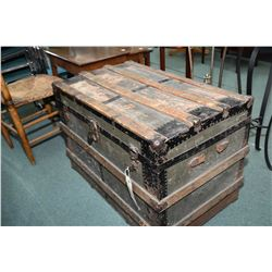 Antique oak bound steamer trunk with original tray