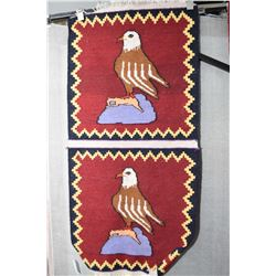 "100% wool pictoral rug with double eagles, 26"" X 54"""