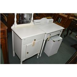 Three pieces of vintage white painted furniture including a side table, a desk and a washstand and a