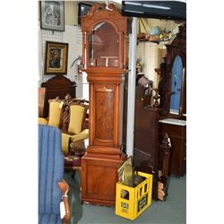 Antique mahogany long cased clock case with box of components including movements, face, weights etc