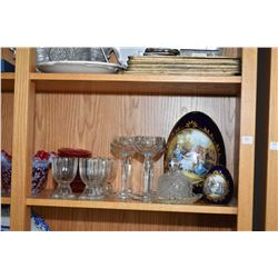 Shelf lot of collectibles including commode, etched candlesticks, Limoges eggs, stemware, ruby and w