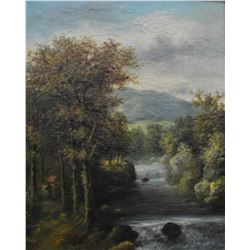 "Pair of antique gilt framed oil on canvas paintings of mountainous river scenes 21"" X 17"" signed by"
