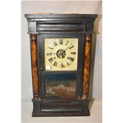 Antique Seth Thomas, Plymouth Hollow, Conn. weight driven clock in wooden case with partial painted