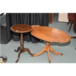 Two mid 20th century occasional tables including a Regency style center pedestal coffee table with b