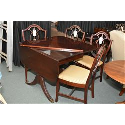 Regency style drop leaf table with insert leaf and four shield back chairs with upholstered seats, m
