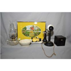 Selection of collectibles including candlestick phone, small painted wooden tea box, colourless oil