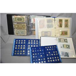 Selection of foreign and Canadian bank notes and coins including a Canadian dime album and a U.S Jef