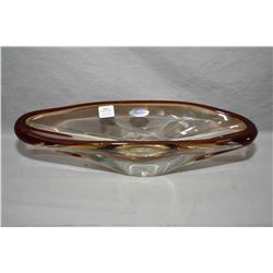 "Brand new Jewellery store inventory Polish hand made Arabeska crystal oblong art glass bowl, 15"" in"