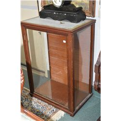 Antique single door display cabinet with glass sides and one glass shelf