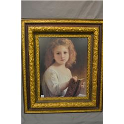 Vintage framed portrait print of a young child
