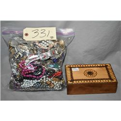Bag of vintage costume jewellery including necklaces, earrings, bracelets, watches etc. and a vintag