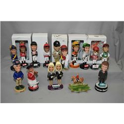 Selection of collectible horse racing jockey and trainer bobble heads etc. including new in box, app