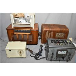 Three tabletops radios including Marconi short-wave, Viking and a RCA Victor plus a Taylor Model 45C