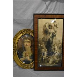 Three framed prints including gilt framed oval convex portrait, small child with flower portrait and