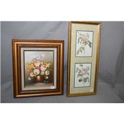 "Selection of botanical framed pictures including original oil on board signed by artist 10"" X 8"" and"