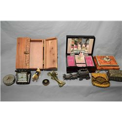 Selection of boxes including jewellery cases, plus vintage purses, travel clock cast pieces etc.