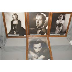 Four photographic prints of old Hollywood stars including Heddy Lamarr, Greta Garbo, Humphrey Bogart