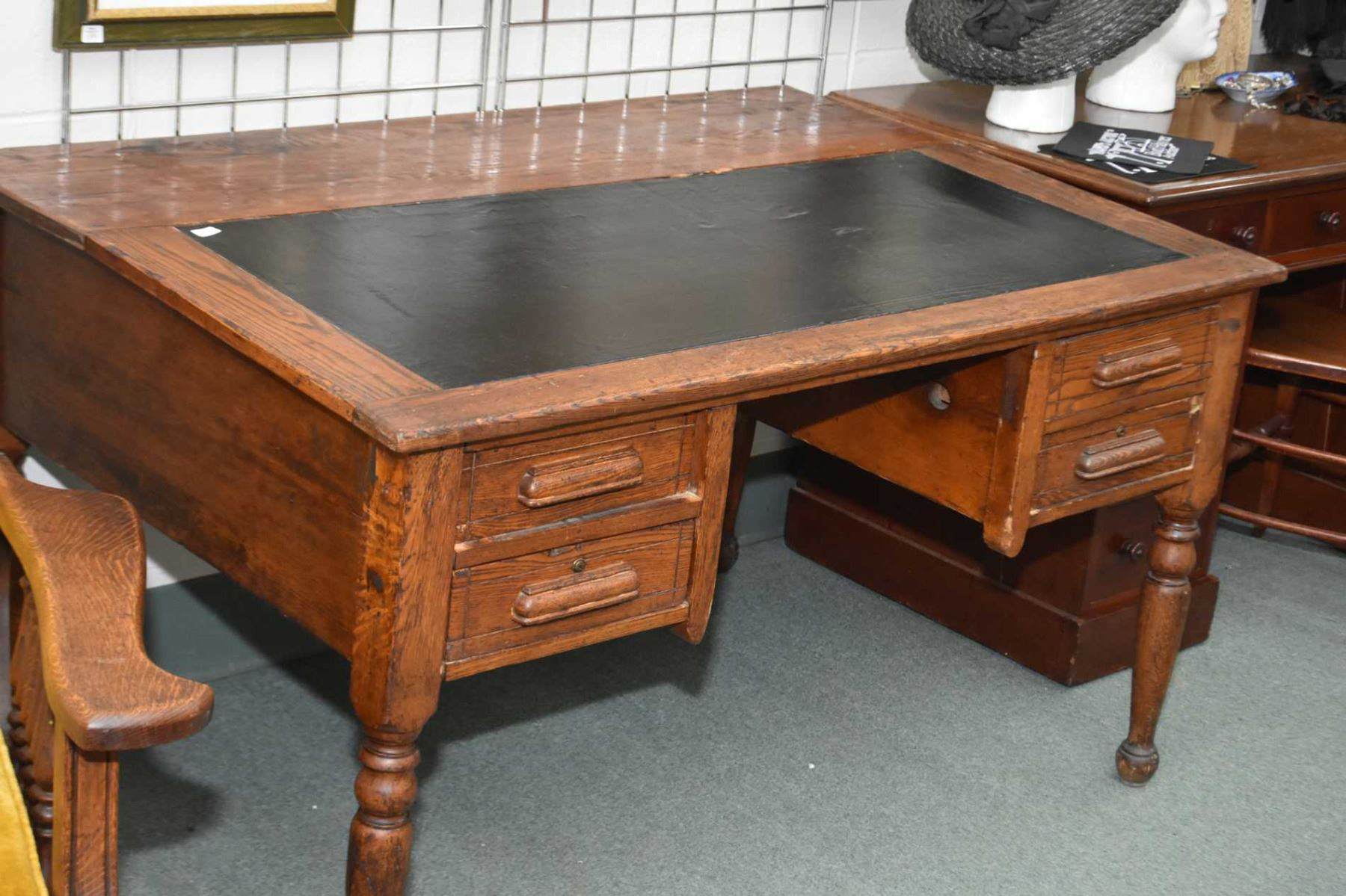 Image 1 : Antique Oak Double Pedestal Knee Hole Office Desk With Sloped  Leather Wrapped Writing
