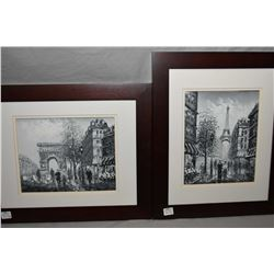Two framed original oil on board painting of Parisian scenes including the Eiffel tower and Chames-