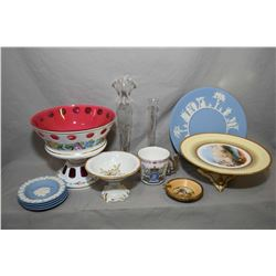 Selection of collectibles including cased milk glass cut to cranberry footed comport with handpainte